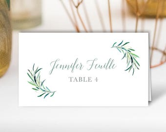 Greenery Place Cards, Eucalyptus Crest Wedding Seating Cards, Monogram Escort Cards, Folded Tent Card > PRINTED Place Cards