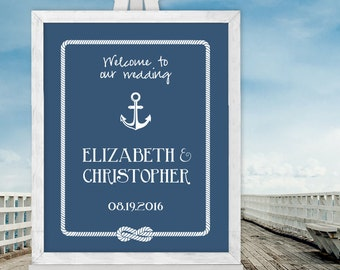 Wedding Welcome Sign / Nautical Anchor and Rope Infinity Knot / Nautical Welcome  / Custom Sign ▷ Printable File {or} Printed & Shipped