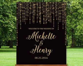Welcome Wedding Sign, Welcome Sign, Wedding Signs, Custom Wedding Sign, Gatsby Wedding, Black and Gold Party, DIY Wedding Decor, Printable
