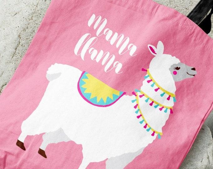 Mama Llama Tote Bag, Cute Llama Baby Shower Gift Idea, Bright Pink Shoulder Bag, New Mom Christmas Gift under 35