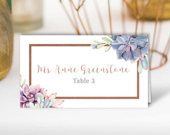 Purple Succulent Place Cards, Rose Gold Wedding Seating Cards, Cactus Geometric Escort Cards, Folded Tent Card > PRINTED Place Cards