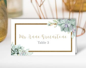 Succulent Place Cards, Greenery an Gold Geometric Wedding Seating Cards, Green Cactus Escort Cards, Folded Tent Card > PRINTED Place Cards