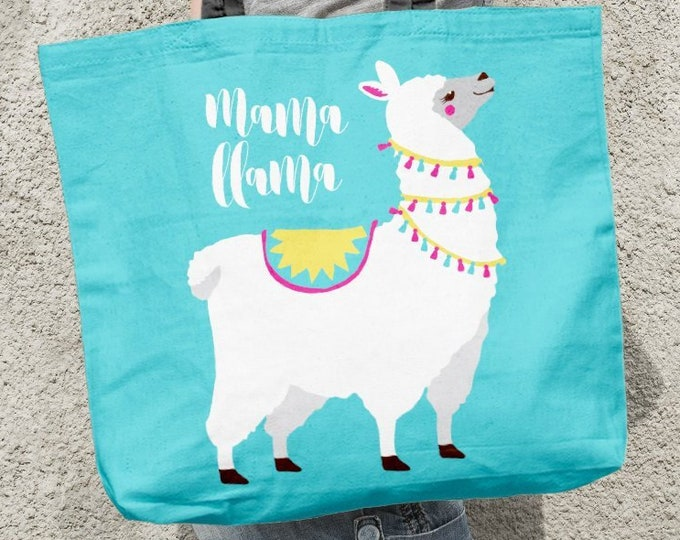 Mama Llama Beach Bag Canvas, Bright Blue Llama Gift Idea for New Mom, Neon Blue Diaper Bag, Large Boho Beach Bag