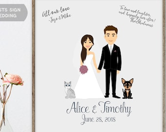 Wedding Couple Portrait Guest Book - Custom Couple Portrait from Photo with Pets If Desired, as Alternative Wedding Guest Book Sign In