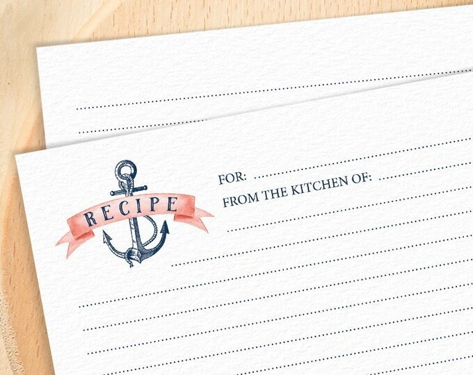 Nautical Recipe Card for Coral Navy Blue Bridal Shower or Kitchen Shower, Beach Destination Wedding > PRINTED Recipe Cards