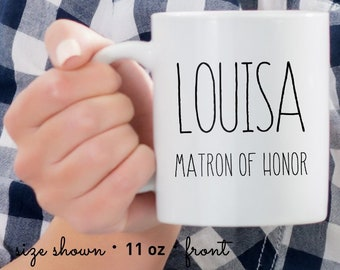 Personalized Matron of Honor Mug, Minimalist Bridal Party Gift Idea under 25, Custom Name Bride Tribe Coffee Mug, Black & White Farmhouse