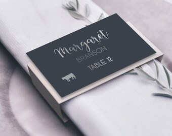 Silver and Gray Place Cards, Neutral Wedding Seating Cards, Faux Metallic Silver Escort Cards, Folded Tent Card  > PRINTED Place Cards
