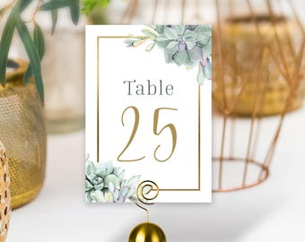 Succulent Table Numbers, Wedding Table Name for Gold Geometric Wedding, Greenery and Gold, Green Cactus, Calligraphy > PRINTED Double-Sided