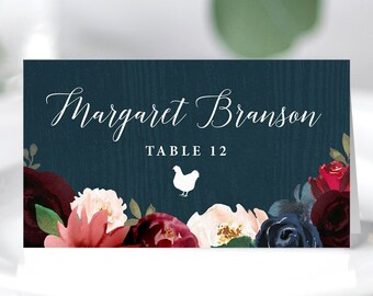 Rustic Place Cards, Burgundy Navy Boho Wedding Seating Cards, Marsala Blush Flower Antlers Escort Card, Folded Tent Card >PRINTED Place Card