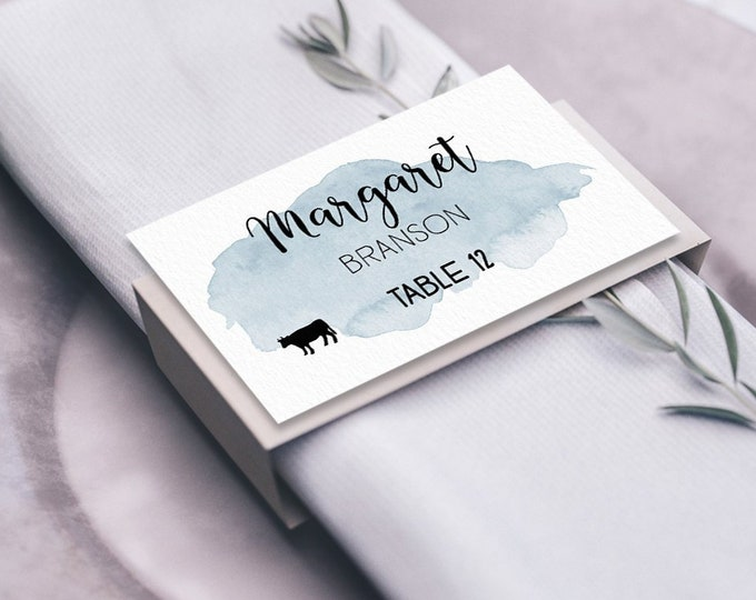 Dusty Blue Place Cards, Blue Watercolor Wedding Seating Cards, Calligraphy Escort Cards, Folded Tent Card  > PRINTED Place Card
