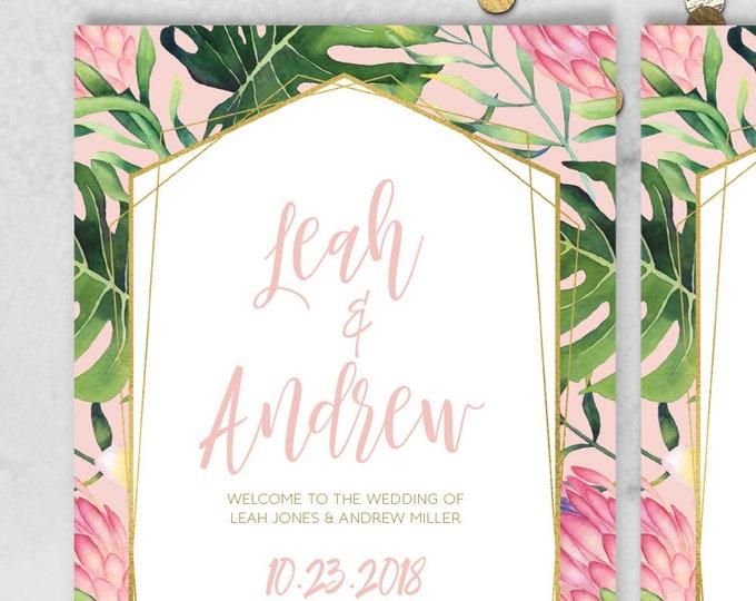 Tropical Wedding Program / Tropical Leaves, Tropical Flowers, Destination Wedding, Palm Leaf, Gold and Blush / Printed Programs or Printable