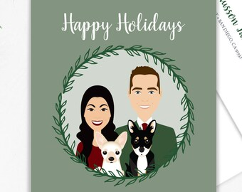 Newlywed Portrait Holiday Card / Christmas Card Portrait, Family, Chihuahua Pet Portrait Illustration, Custom Family Portrait