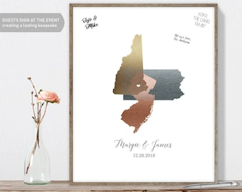Wedding Guest Book Alternative / Three State Map Guest Book / Faux Metallic Rose Gold Map Guestbook ▷Canvas, Paper, Board {or} Printable