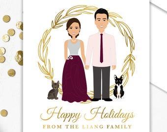 Couple Portrait Holiday Card / Christmas Card Portrait, Family, Children, Pet Portrait Illustration ▷ Custom Family Portrait