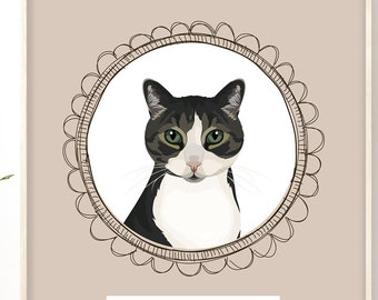 Cat Drawing Canvas > White and brown tabby cat portrait on taupe beige, cartoon pet illustration sign, unique gift for him