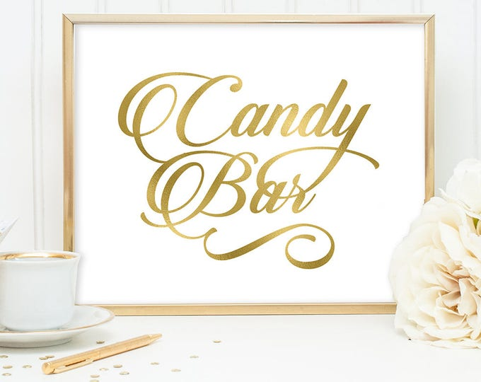 Candy Bar Sign DIY, Wedding Dessert Sign, Sweets / Gold Wedding Sign / White Gold Calligraphy, Faux Metallic Gold ▷Instant Download JPEG