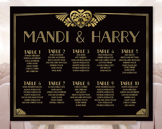 Alphabetical Seating Chart Sign DIY / Wedding Sign / Great Gatsby Art Deco, Twenties / Black and Gold▷ Printable File {or} Printed & Shipped