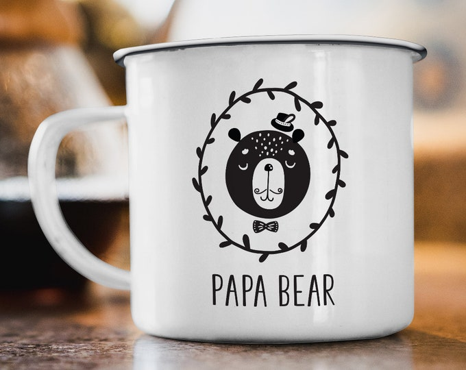 Papa Bear Mug, Scandinavian Gift under 20, Black and White Hygge Gift For New Dad, Cute Bear Tea Mug, Minimalist Coffee Mug