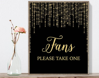 Fans Sign DIY / Please Take One / Gold Wedding Sign / Great Gatsby, Bokeh String Light / Black and Gold Calligraphy ▷Instant Download JPEG