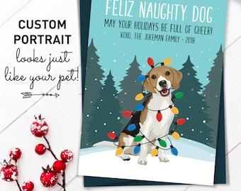 Beagle Christmas Card, Funny Christmas Cards with Custom Pet Portrait, Funny Dog Holiday Card, Beagle Mom Xmas Card