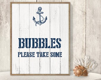 Bubbles, Please Take Some // Wedding Bubbles Sign DIY // Nautical Sign, Navy Anchor Printable PDF // Nautical Planks ▷ Instant Download