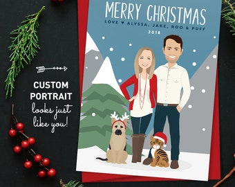 Pet Christmas Card, Custom Cartoon Couple with Dog Illustration and Cat Portrait, Printed Holiday Cards 5x7, Custom Family Portrait