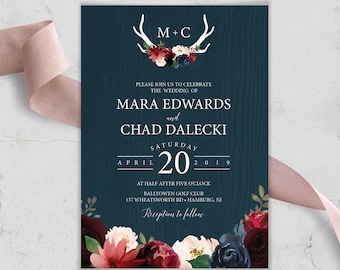 Rustic Wedding Invitation, Burgundy Navy Boho Wedding Invites, Marsala Blush Flowers and Antlers, PRINTED INVITATION or printable invite