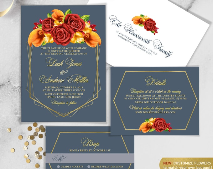Fall Wedding Invitation Set / Red Rose Flower, Orange Calla Lilly, Floral Invitation, Gold Geometric ▷ Printed Invitations {or} Printable