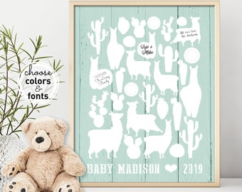 Llama Baby Shower Guest Book Alternative, Personalized Baby Gift, Mint Green Cactus Nursery Wall Art Printable