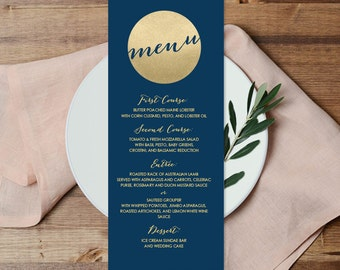 Gold Menu Card / Custom Menu / Gold Sparkle Glitter Wedding Menu / Metallic Gold and Navy ▷ Printable File {or} Printed & Shipped