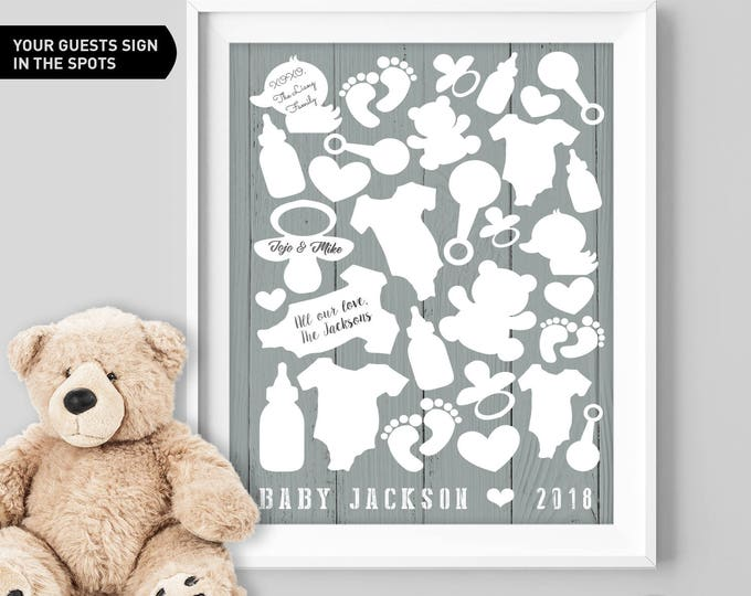 Gray Baby Shower Guest Book Alternative / Neutral Baby Guest Book, Onesie, Teddy Bear Baby Shower ▷Canvas, Board, Paper {or} Printable