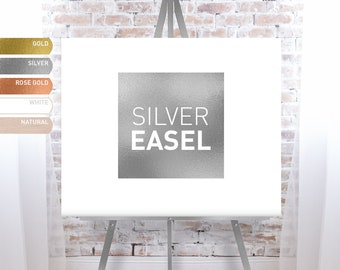 Silver Easel for Wedding, Wood Easel Stand for Canvas Sign, Large Floor Easel - FREE SHIPPING!