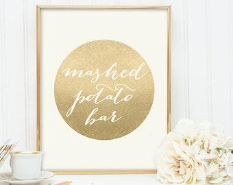 Mashed Potato Bar Sign / Food Label / Gold Sparkle Wedding Sign DIY / Metallic Gold and Cream / Champagne Gold ▷ Instant Download JPEG