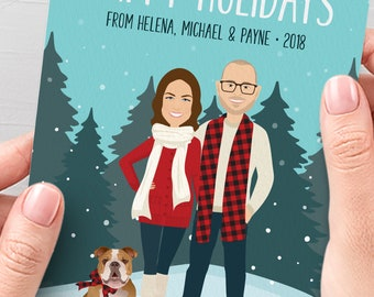 Custom Family Portrait Holiday Cards, Personalized Christmas Cards with Pet Portrait, Printed Christmas Card 5x7