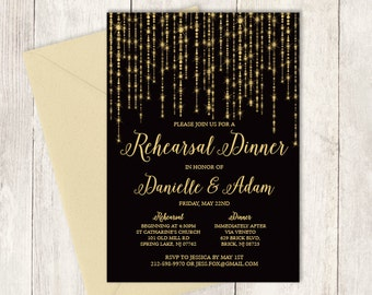 Elegant Rehearsal Dinner Invitation DIY / Great Gatsby Bokeh String Light / Black and Gold Calligraphy ▷ Printable PDF Invite