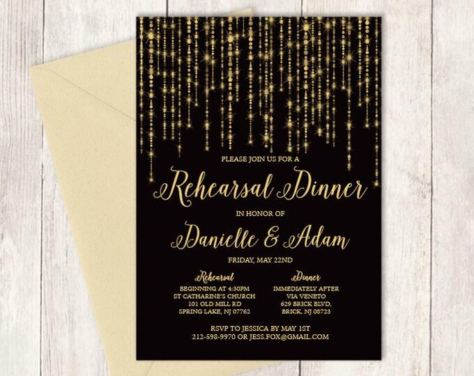 Elegant Rehearsal Dinner Invitation DIY / Great Gatsby Bokeh String Light / Black and Gold Calligraphy ▷ Printable PDF Invite
