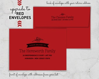 Red Envelopes for Holiday Cards, Addressed Envelopes