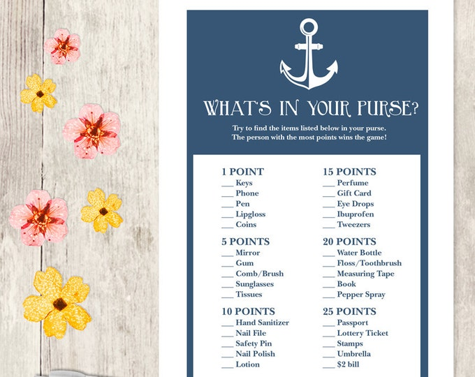 Nautical Bridal Shower Game DIY / Navy Blue and Anchor / What's In Your Purse Printable PDF / Wedding Shower ▷ Instant Download