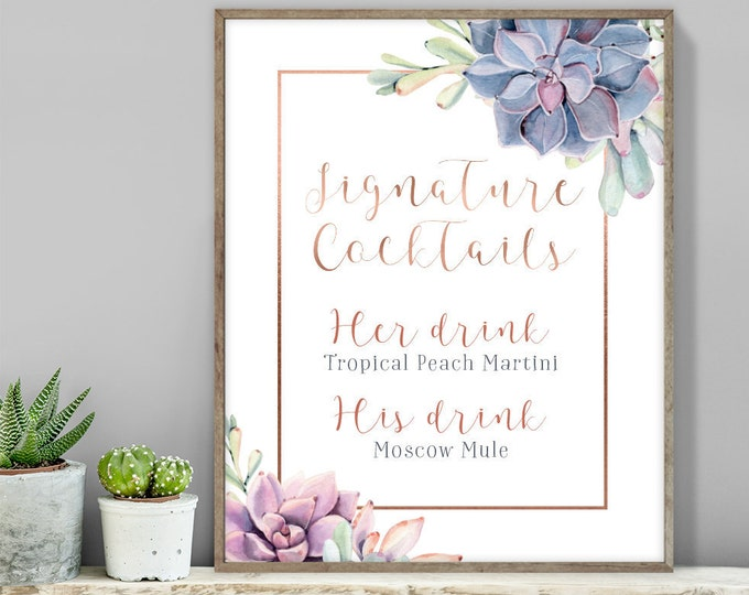Succulent Signature Cocktail Sign / Bar Sign / Greenery and Rose Gold Geometric / Cactus and Copper▷ Printable File {or} Printed & Shipped