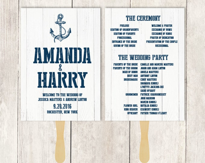 Nautical Wedding Program DIY / Nautical Planks / Nautical Sign, Navy Anchor / Whitewashed Wood ▷ Printable {or} Printed ***ASSEMBLY REQUIRED