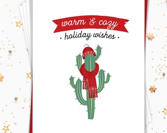 Cute Christmas Card Set, Funny Cactus Notecard Set of 15 Greeting Cards with Envelopes, Merry Christmas, Small Holiday Cards