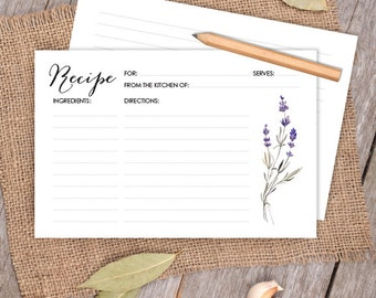 Floral Card // Purple Flowers, Lavender Wreath 4x6 Recipe Card DIY // Bridal Shower Card, Kitchen Shower Printable PDF ▷ Instant Download