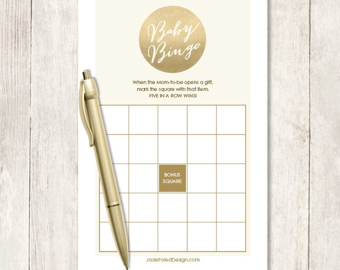 Gold Sparkle Baby Shower Bingo Game DIY / Metallic Gold and Cream / Champagne Gold / Baby Bingo Printable PDF Game ▷ Instant Download