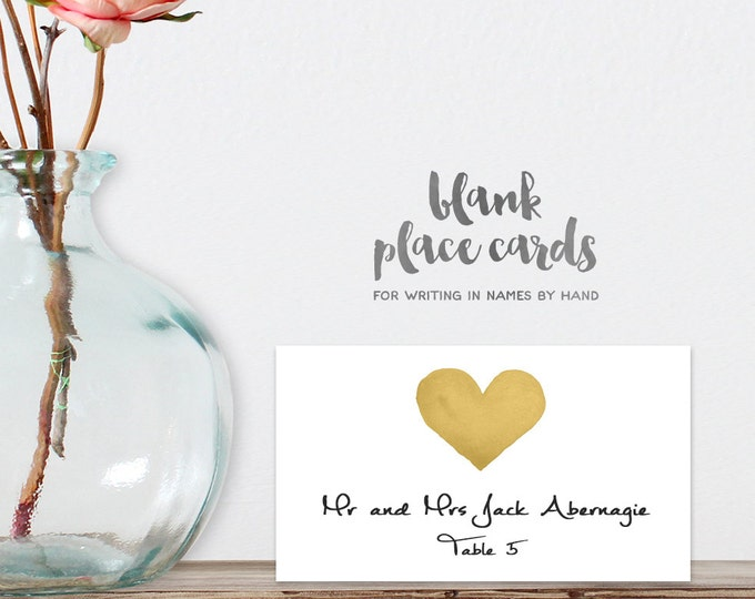 Wedding Place Cards DIY Printable PDF / Gold Watercolor Heart / Food Card / Tent Card / Guest Seating Card ▷ Instant Download