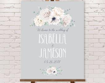 White Flowers Wedding Welcome Sign / White Rose, Anemone, Peony, Boho Greenery, Ivory Flower on Gray ▷ Printable File {or} Printed & Shipped