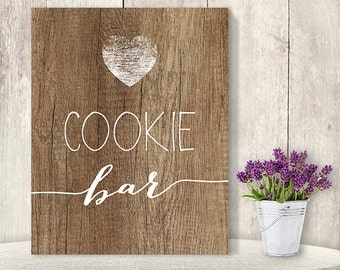 Cookie Bar Sign // Rustic Wedding Cookie Sign DIY // Rustic Wood Sign, White Calligraphy Printable PDF, Rustic Poster ▷ Instant Download
