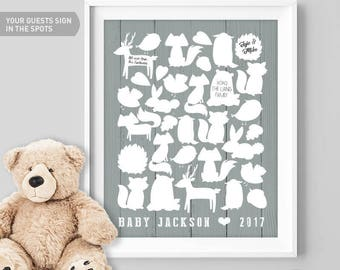 Guest Book Canvas, Woodland Animals, Baby Shower, Guest Book Sign, Custom Guestbook, Printable, Woodland Nursery, Baby Gift, Gender Reveal