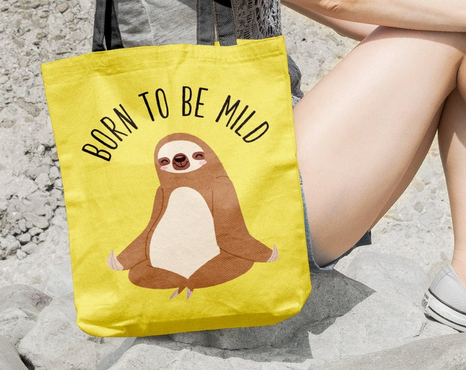 Sloth Tote Bag, Born To Be Mild, Sloth Gift Idea for Teen, Bright Neon Yellow Bag, Funny Christmas Gift under 35