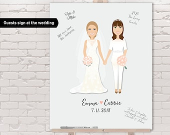 Gay Wedding Guest Book Alternative / Two Brides, Same Sex Couple Portrait / Lesbian Wedding ▷ Canvas Guest Book, Paper {or} Printable