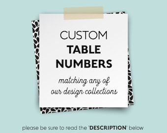 Custom Table Numbers, Wedding Table Name 5x7s, matching any Jade Forest Design Collection > PRINTED Table Number Cards, Double-Sided